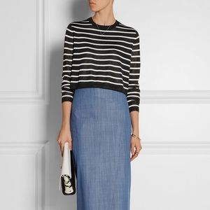 Tibi NY | Striped Cropped Sweater Top
